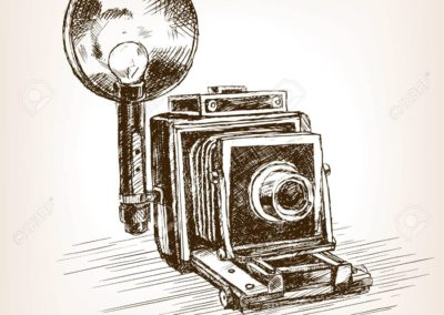 Old photo camera sketch style vector illustration
